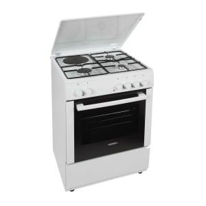 Carad Κουζίνα Υγραερίου GMW34401 Λευκή(3 εστίες αερίου,1 ηλεκτρική εστία)