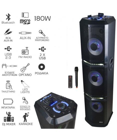 Akai DJ-4308A Φορητό ηχείο Bluetooth με μίκτη, LED, ασύρματο μικρόφωνο, διπλό USB, Aux-In και micro SD – 180 W RMS