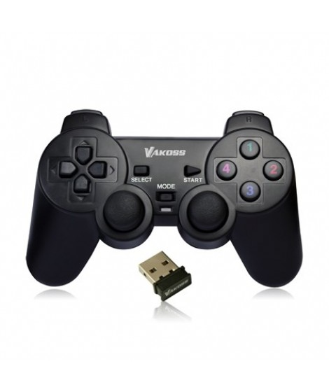 Vakoss GP-3925BK Wireless Gamepad, 10 buttons, 2 joystick, Black