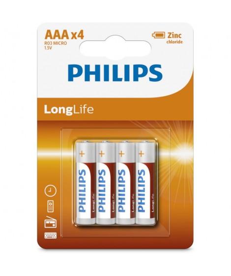 Philips R03L4B/GRS Μπαταρίες μεγάλης διάρκειας ζωής ZINC-CHLORIDE 4 τμχ AAA