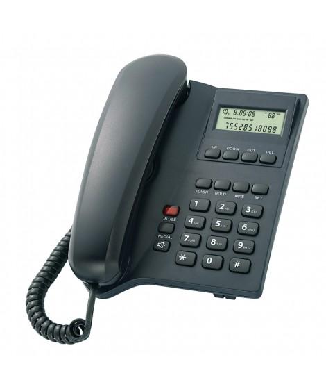 POWERTECH Σταθερό ενσύρματο τηλέφωνο ELLY, LCD, Black (PT-506)