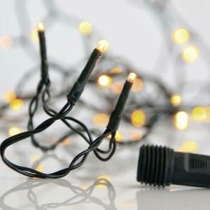 Eurolamp 300 Λαμπάκια LED Θερμό Λευκό 3mm Επεκτάσιμα, Σειρά, Πράσινο Καλώδιο Ρεύματος 15m 600-11318