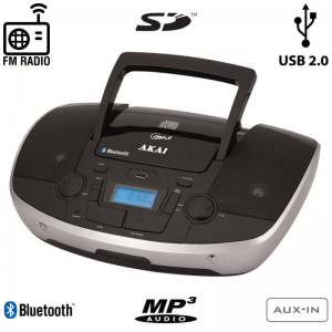 Akai APRC-108 Φορητό HiFi με Bluetooth, CD, USB για φόρτιση συσκευών, κάρτα SD και Aux-In