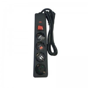 Eurolamp Πολύπριζο Υπερτάσεως με ασφάλεια 4 θέσεων με καλώδιο 1,5m, 3X1,5mm 147-62106