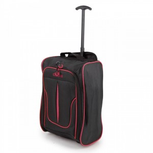 Sunrise Bags 2147-17-BKPK Club, Χειραποσκευή Τρόλεϊ με 2 ρόδες μαύρο-ροζ