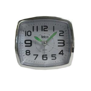 Telco 6119 Αθόρυβο με Φως Μαύρο/Χρωμίου Ρολόι Ξυπνητήρι
