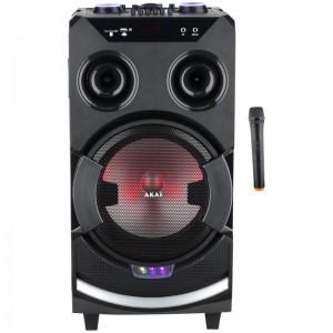 Akai ABTS-112 Φορητό ηχείο karoke με Bluetooth, LED, USB, Aux-In, ασύρματο μικρόφωνο και υποδοχή και μικρόφωνο και όργανο – 60W RMS