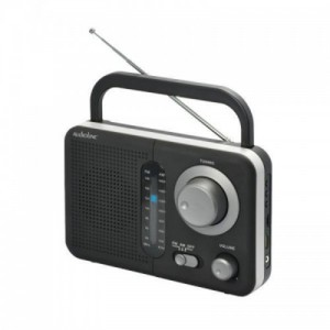 Audioline Φορητό ραδιόφωνο Μπαταρίας/ρεύματος TR-412 Μαύρο-Ασημί