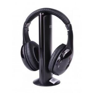 ΙΝΤΕΧ Ασύρματα ακουστικά KOM0016 με FM tuner, μαύρα