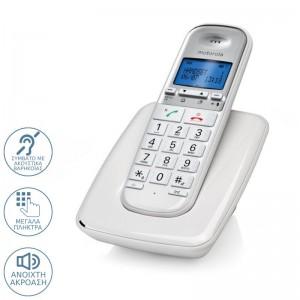Motorola S3001 WHITE (Ελληνικό Μενού) Ασύρματο τηλέφωνο συμβατό με ακουστικά βαρηκοΐας