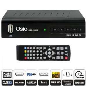 Osio OST-2655D DVB-T/T2 Full HD H.265 MPEG-4 Ψηφιακός δέκτης με USB