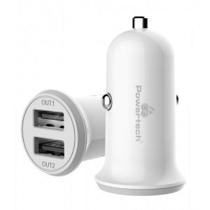 POWERTECH Φορτιστής Αυτοκινήτου PT-714, 2x USB, 3.4A, λευκό