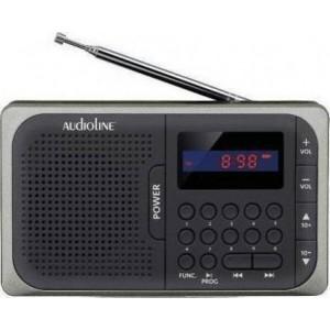 Audioline TR-210 Ψηφιακό ραδιόφωνο μπαταρίας με USB και κάρτα μνήμης SD Γκρι-Μαύρο