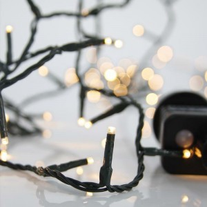 Eurolamp 600-11833 300 Λαμπάκια LED Θερμό Λευκό 3mm Επεκτάσιμα με Προγράμματα, Σειρά, Πράσινο Καλώδιο Ρεύματος 15m