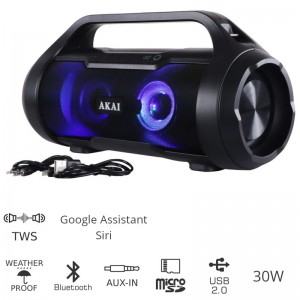 Akai ABTS-50 Αδιάβροχο φορητό ηχείο Bluetooth με TWS, USB, LED, micro SD και Aux-In 30 W