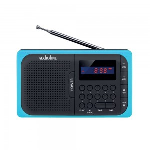 Audioline TR-210 Ψηφιακό ραδιόφωνο μπαταρίας με USB και κάρτα μνήμης SD Μπλε-Μαύρο