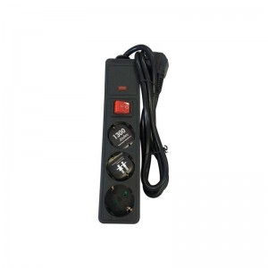 Eurolamp 147-62105 Πολύπριζο υπέρτασης 3 Θέσεων με καλώδιο & διακόπτη 3x1,5mm 1,5m