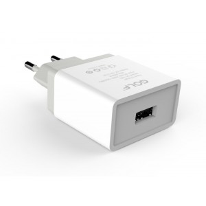 GOLF Φορτιστής GF-U2S, 1x USB, 2.1A, White