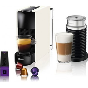 Krups Nespresso XN1111S Essenza Mini Καφετιέρα Λευκή μαζί με Aeroccino & Δώρο κουπόνι αξίας 30€ για αγορά καφέ
