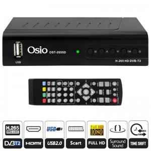 Osio OST-2655D DVB-T/T2 Full HD H.265 MPEG-4 Ψηφιακός δέκτης με USB